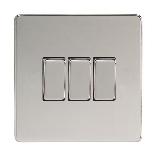 Varilight XDC3S Screwless Polished Chrome 3 Gang 10A 1 or 2 Way Rocker Light Switch